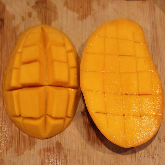Another way of cutting mango is to make both cuts, lengthwise and crosswise. Then scoop the flesh with the spoon.