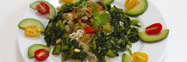Gluten Free Angel Hair Pasta with Rapini (Broccoli Rabe) & Sweet Pepper Vegetable Medley