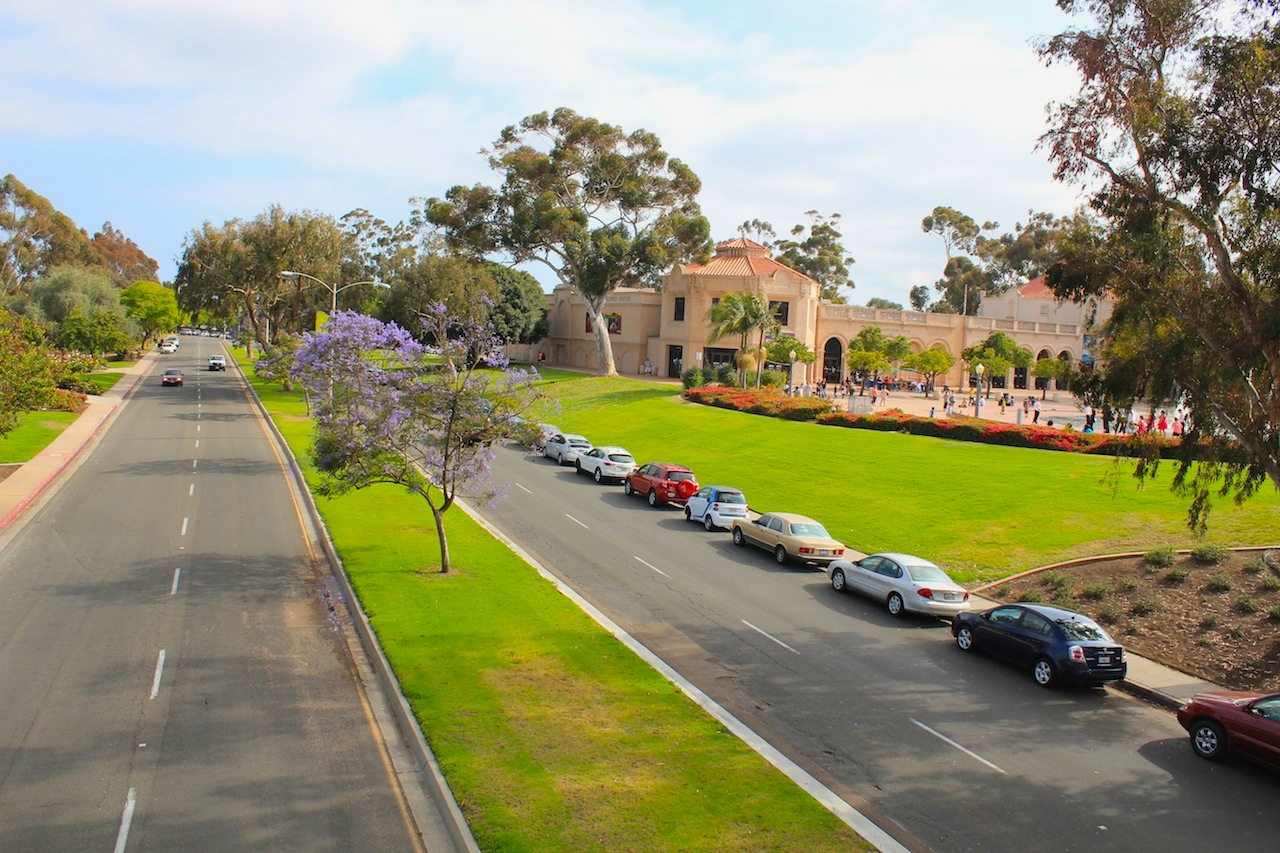 A view on the Balboa Park from the pedestrian bridge.