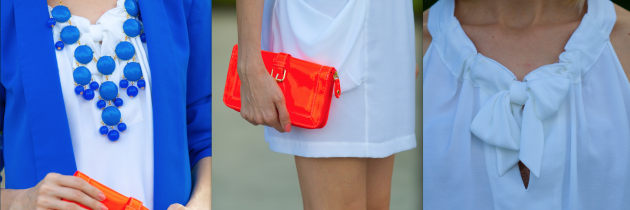 White Dress with Bright Accessories.