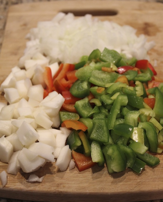 Chopped peppers, squash and onion.