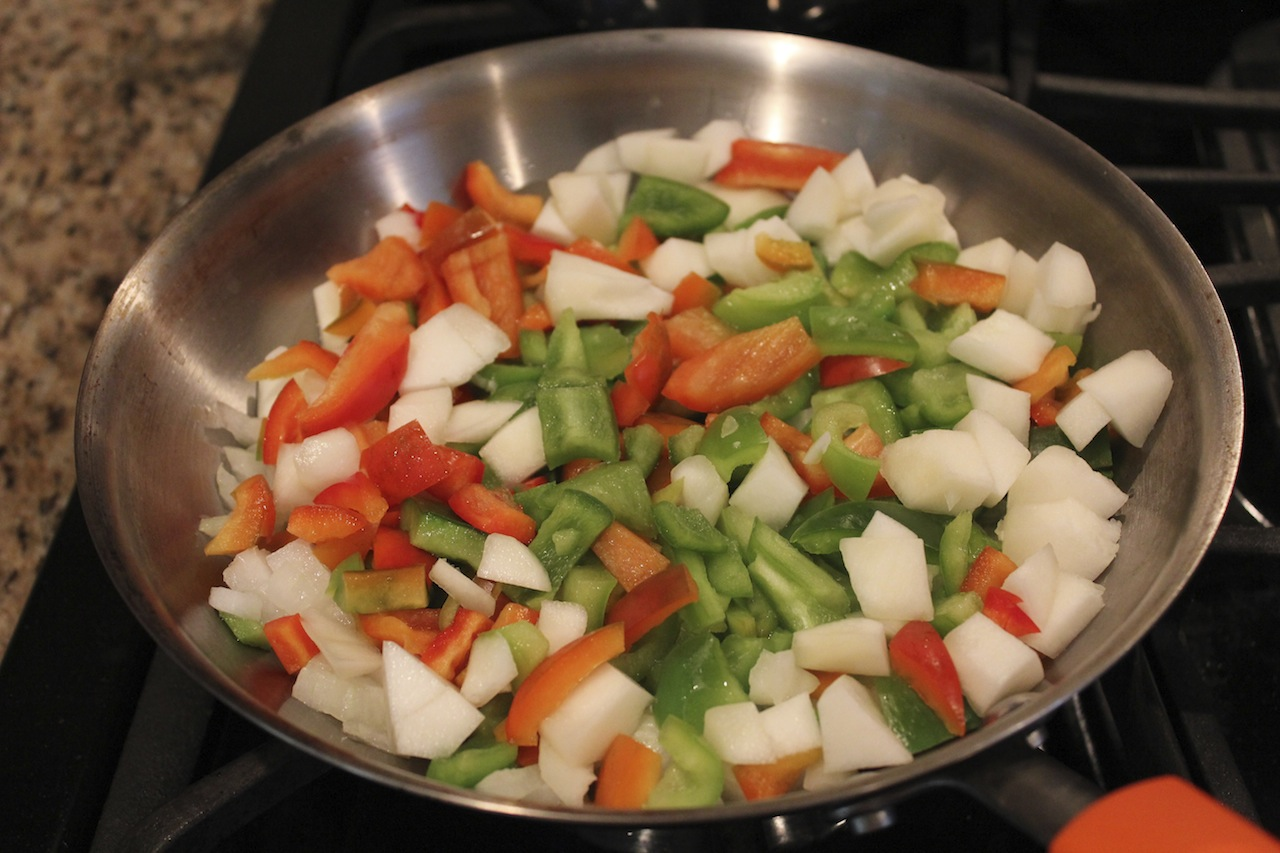 Sautee vegetables for vegetable medley.