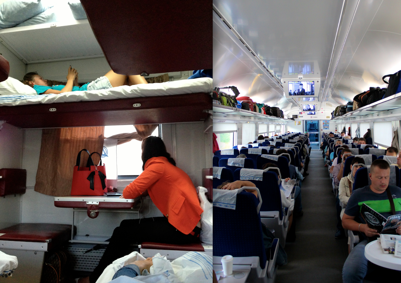 Left: traveling by 3rd class in a regular overnight train. Right: traveling by 2nd class in a high-speed train.  Feel the difference!