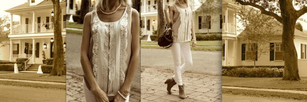 Lace, Pearls and Taupe Booties