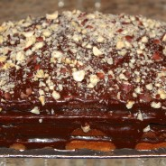 Organic Chocolate Cake with Yoghurt and Walnuts