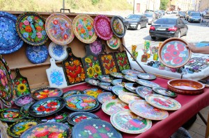 Souvenirs at Andriyivskyy Uzviz. Lots of high quality beautiful souvenirs: nesting dolls, wooden trays and jewelry boxes, antique items and icons, handmade jewelry, ethnic clothing etc.