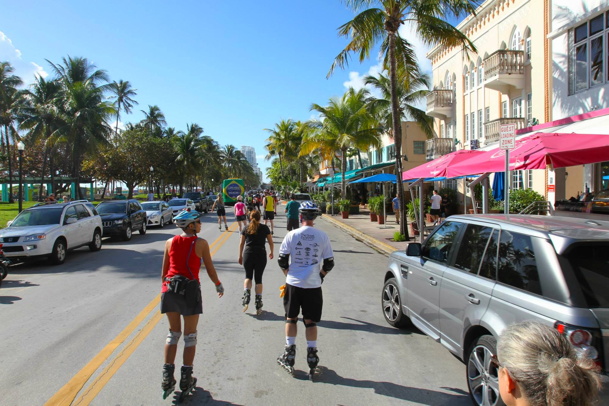 Marathon starts with skating along a famous Ocean Drive in Miami Beach.