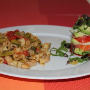 Avocado & Salmon Mini Tower with Ditalini Vegetable Ragout