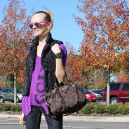 Purple Hues, Faux Fur Vest and Fuchsia Sunglasses