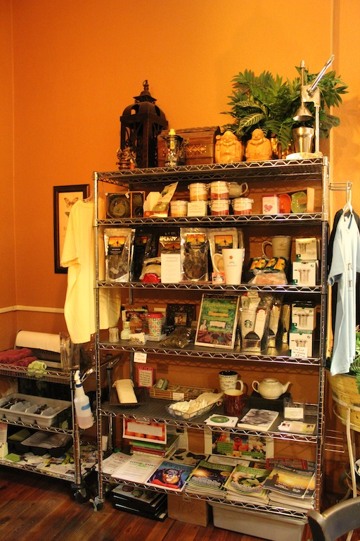 There are plenty healthy snacks, teas, books and brochures on food, souvenirs etc available for purchase in Leafy Greens Cafe.